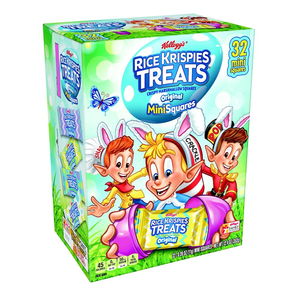 "<p><strong>Rice Krispies Treats</strong></p><p>walmart.com</p><p><strong>$4.98</strong></p><p><a href=""https://go.redirectingat.com?id=74968X1596630&url=https%3A%2F%2Fwww.walmart.com%2Fip%2F49580986&sref=https%3A%2F%2Fwww.bestproducts.com%2Feats%2Ffood%2Fg1239%2Fbest-easter-candy-chocolate%2F"" rel=""nofollow noopener"" target=""_blank"" data-ylk=""slk:Shop Now"" class=""link rapid-noclick-resp"">Shop Now</a></p><p>Add a couple of these individually wrapped marshmallow flavored squares to make the best Easter baskets this year. Adults and kids will love these tasty treats, and with 32 in a box, you will have plenty to go around.</p>"