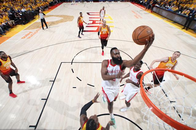 James Harden made his way to the front of the rim time and again during the Rockets' blowout Game 3 victory. (Getty)