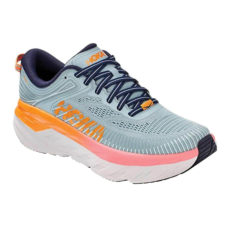 """<p><strong>HOKA ONE ONE</strong></p><p>amazon.com</p><p><strong>$189.90</strong></p><p><a href=""""https://www.amazon.com/dp/B08F26DTTP?tag=syn-yahoo-20&ascsubtag=%5Bartid%7C2142.g.36448024%5Bsrc%7Cyahoo-us"""" rel=""""nofollow noopener"""" target=""""_blank"""" data-ylk=""""slk:Shop Now"""" class=""""link rapid-noclick-resp"""">Shop Now</a></p><p>The Bondi 7 is the most cushioned shoe in the HOKA road-shoe lineup, thanks to its compression-molded EVA foam midsole. </p>"""