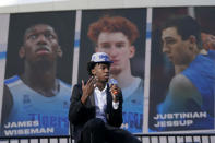 Golden State Warriors draft pick James Wiseman speaks at a news conference in San Francisco, Thursday, Nov. 19, 2020. (AP Photo/Jeff Chiu)