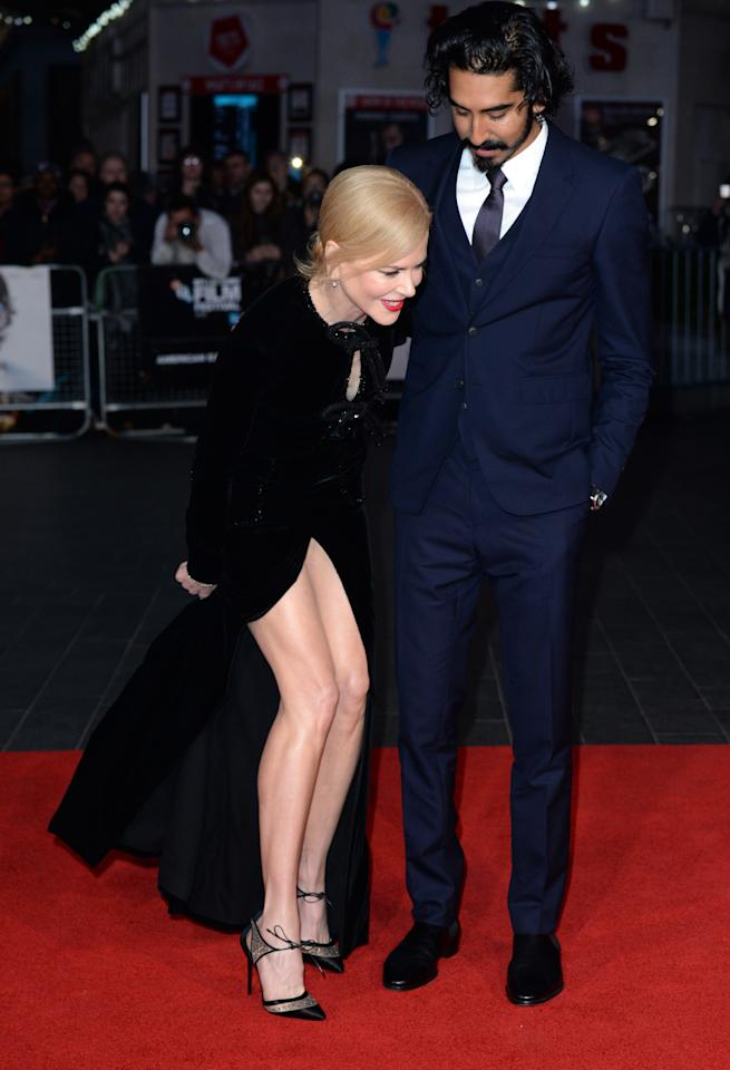 <p>The Aussie actress struggled to maintain her dignity in a revealing Armani Prive dress at the London premiere of her film'Lion'. Clearly no one warned her about Britain's blustery weather… <i>[Photo: Getty]</i></p>