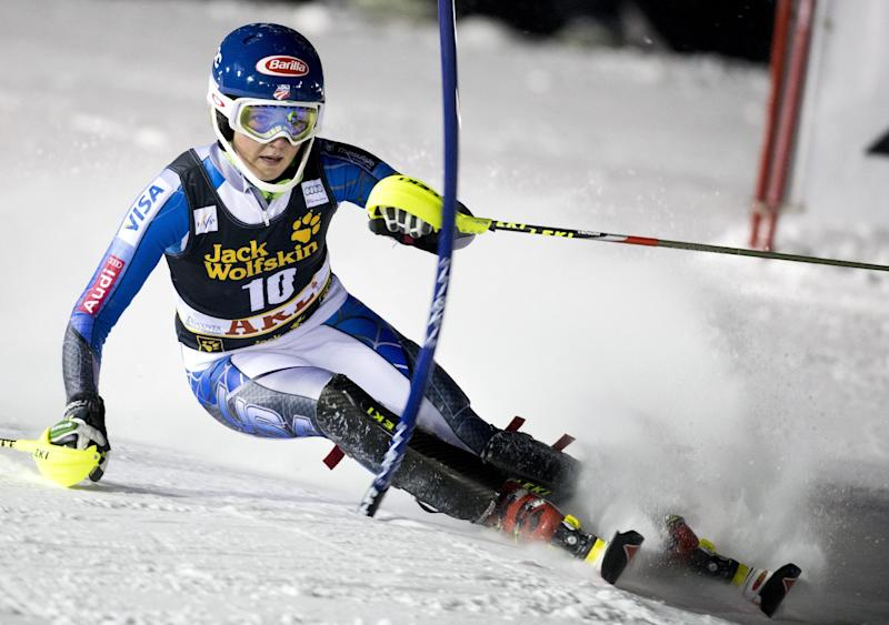 Mikaela Shiffrin of USA competes during the first run of the FIS Alpine Ski World Cup women's slalom in Are, Sweden, on Thursday Dec. 20, 2012. (AP Photo/Scanpix Sweden/Pontus Lundahl) SWEDEN OUT