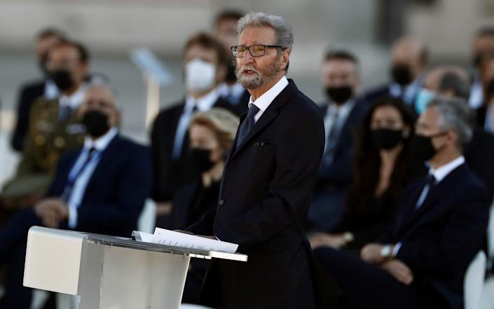 Hernando Fernandez Calleja, brother of late journalist and Covid-19 victim Jose Maria Calleja, delivers a speech at the parade court in the Royal Palace during the state tribute - Shutterstock