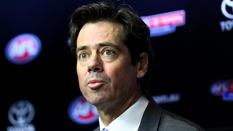 AFL CEO Gillon McLachlan, pictured here addressing the media.