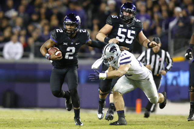 Trevone Boykin finished with 335 total yards and four TDs in TCU's rout of Kansas State. (USAT)