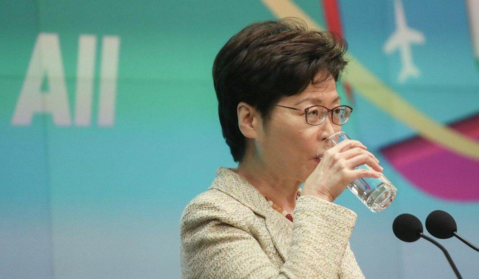 Carrie Lam on Tuesday declined to address why the city's annual Tiananmen Square vigil has been blocked on public health grounds while other gatherings have not. Photo: Xiaomei Chen
