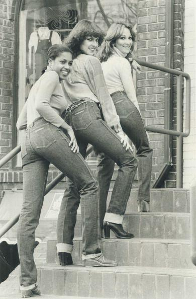 <p>Models wearing Sasson jeans, which were known for being skintight (especially in the waist).</p>