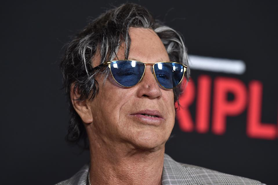 LOS ANGELES, CA - FEBRUARY 16:  Actor Mickey Rourke arrives at the premiere of Open Road's 'Triple 9' at Regal Cinemas L.A. Live on February 16, 2016 in Los Angeles, California.  (Photo by Axelle/Bauer-Griffin/FilmMagic)