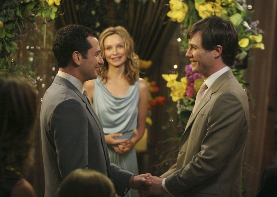 <p>In May 2008, ABC's <em>Brothers & Sisters </em>became the first primetime, scripted show on a broadcast network to picture a same-sex wedding between two lead characters. Kevin and Scotty, played by Matthew Rhys and Luke MacFarlane, were married in the show's season finale.</p><p>That same year, Connecticut legalized same-sex marriage.</p>
