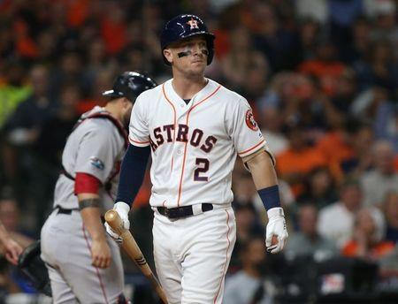 Oct 18, 2018; Houston, TX, USA; Houston Astros third baseman Alex Bregman (2) reacts after striking out against the Boston Red Sox in the eighth inning in game five of the 2018 ALCS playoff baseball series at Minute Maid Park. Mandatory Credit: Troy Taormina-USA TODAY Sports
