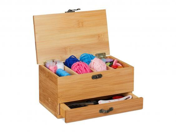 This structured box with two compartments is ideal to keep your workspace clutter-free (Wayfair)