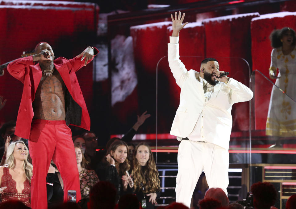 YG, left, and DJ Khaled perform during a tribute in honor of the late Nipsey Hussle at the 62nd annual Grammy Awards on Sunday, Jan. 26, 2020, in Los Angeles. (Photo by Matt Sayles/Invision/AP)