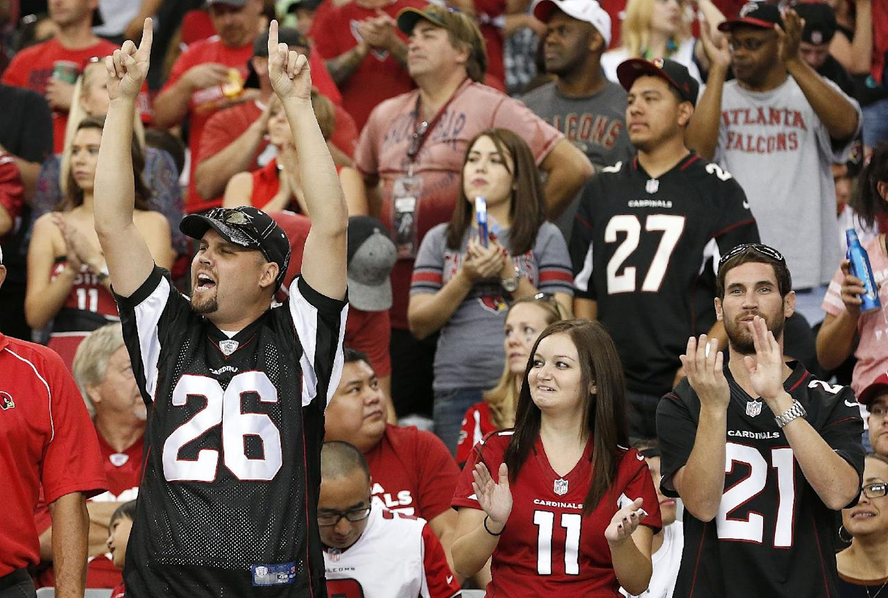 Arizona Cardinals fans cheer after Larry Fitzgerald made his 800th career catch during the second half of an NFL football game against the Atlanta Falcons on Sunday, Oct. 27, 2013, in Glendale, Ariz. The Cardinals won 27-13. (AP Photo/Ross D. Franklin)