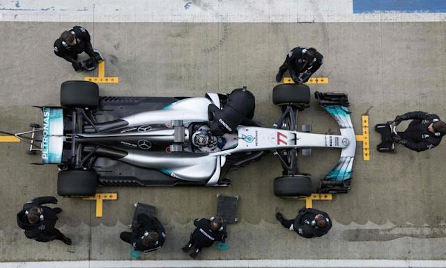"""<span class=""""element-image__caption"""">Valtteri Bottas sitting in the new F1-W08 Mercedes.</span> <span class=""""element-image__credit"""">Photograph: Oli Scarff/AFP/Getty Images</span>"""