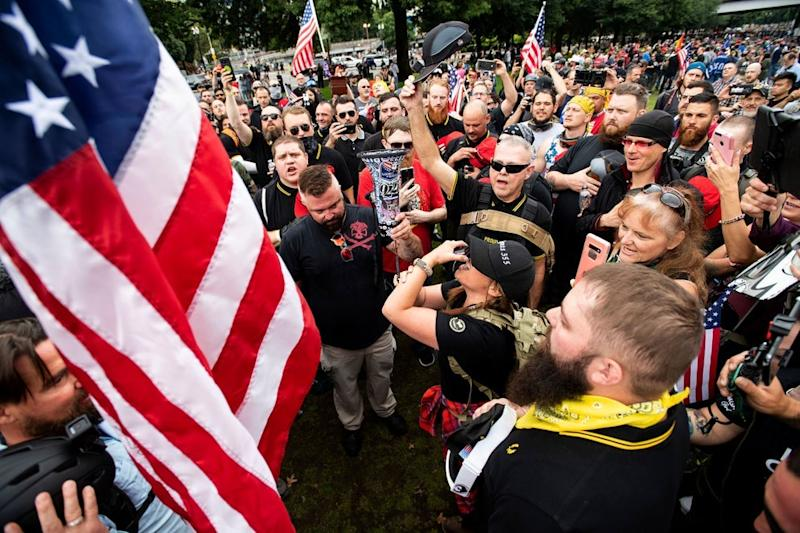 Far-right group is holding rally in support of president Trump (AP/Noah Berger)