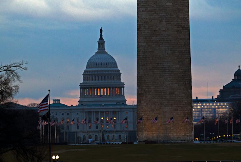 The U.S. Capitol pictured early Tuesday as a partial government shutdown stretches into its third week.