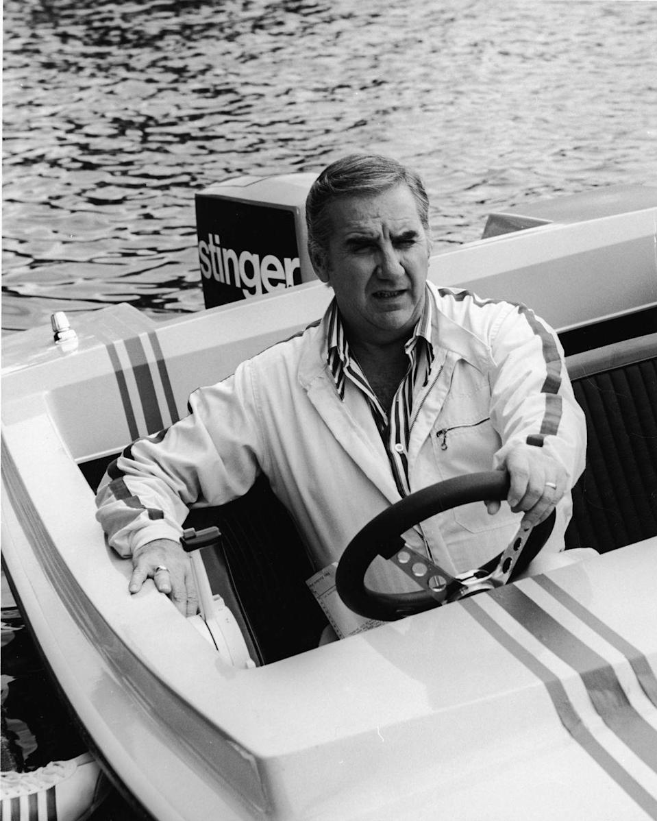 <p>Ed McMahon sits behind the steering wheel of a motorboat at Cypress Gardens, Florida, 1972.</p>