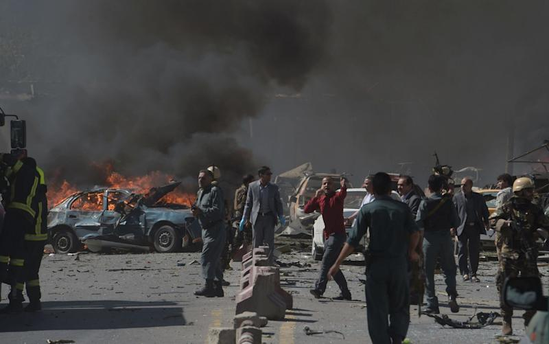 The suspected car bomb killed or wounded dozens of people - Credit: SHAH MARAI/AFP/Getty Images