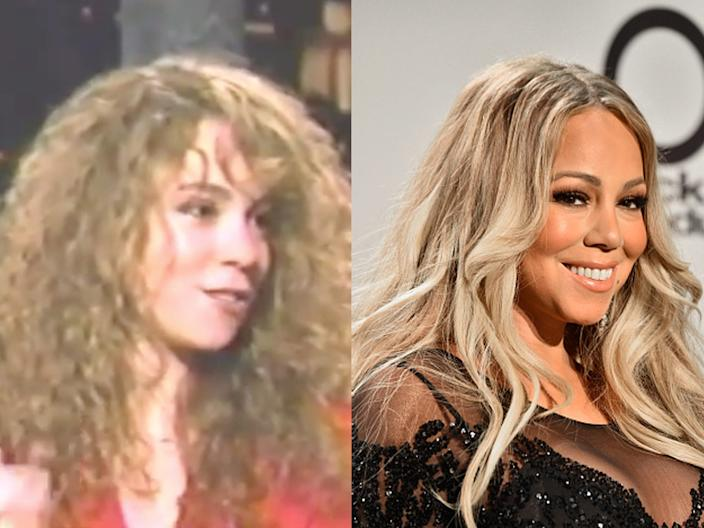 """Mariah Carey on the show """"Video Soul"""" in 1990 and at the 2018 American Music Awards."""