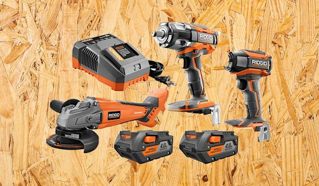 The kit includes three tools, two 4.0 Ah batteries, and charger (Photo: The Home Depot)