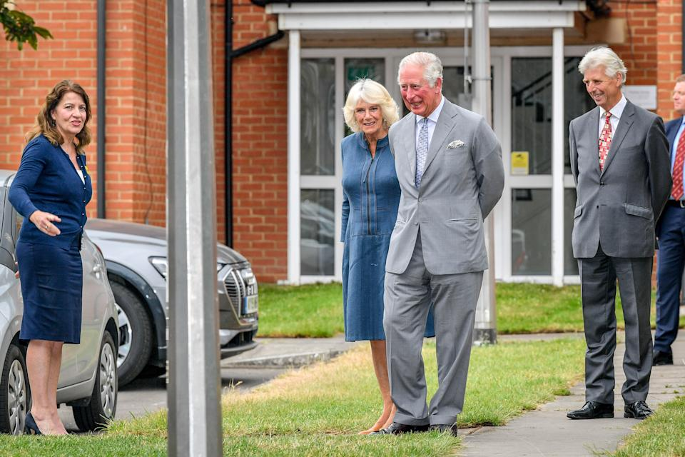 The Prince of Wales and the Duchess of Cornwall arrive at Gloucestershire Royal Hospital as they meet front line key workers who who have responded to the COVID-19 pandemic during a visit to Gloucestershire Royal Hospital.