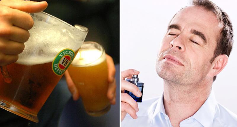 The picture on the left shows VB beer being poured into a glass. Right: A man sprays perfume on his face.Source: Getty Images