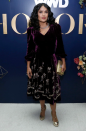 <p>For the third annual WWD Honours ceremony in New York, Salma wore a vampish velvet dress with gold peep-toe heels. <em>[Photo: Rex]</em> </p>