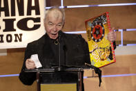 FILE - In this Sept. 11, 2019 file photo, John Prine accepts the Album of the Year award at the Americana Honors & Awards show in Nashville, Tenn. Prine died Tuesday, April 7, 2020, from complications of the coronavirus. He was 73. (AP Photo/Wade Payne, File)