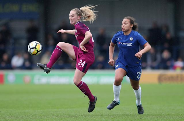 Soccer Football - Women's FA Cup Semi Final - Chelsea vs Manchester City - The Cherry Red Records Stadium, London, Britain - April 15, 2018 Chelsea's Drew Spence in action with Manchester City's Keira Walsh Action Images/Peter Cziborra