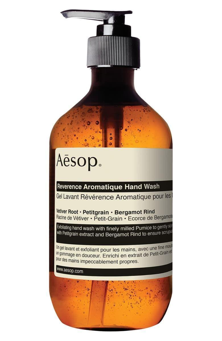 "<p><strong>Aesop</strong></p><p>nordstrom.com</p><p><strong>$39.00</strong></p><p><a href=""https://go.redirectingat.com?id=74968X1596630&url=https%3A%2F%2Fwww.nordstrom.com%2Fs%2Faesop-reverence-aromatique-hand-wash%2F4365882&sref=https%3A%2F%2Fwww.marieclaire.com%2Fbeauty%2Fg35164403%2Fbest-hand-soaps%2F"" rel=""nofollow noopener"" target=""_blank"" data-ylk=""slk:SHOP IT"" class=""link rapid-noclick-resp"">SHOP IT</a></p><p>This pumice-studded wash has a cult following thanks to its herbal fragrance and scrubby texture. Follow up with your favorite hand lotion before a DIY manicure. </p>"