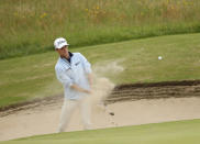 United States' Will Zalatoris plays out of a bunker on the 16th hole during a practice round for the British Open Golf Championship at Royal St George's golf course Sandwich, England, Wednesday, July 14, 2021. The Open starts Thursday, July, 15. (AP Photo/Peter Morrison)