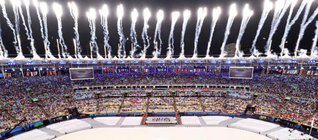 <p>Fireworks explode during the closing ceremony for the 2016 Rio Olympics on August 21, 2016. (REUTERS/Fabrizio Bensch) </p>