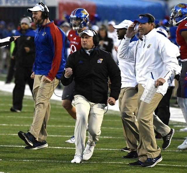 Kansas coach David Beaty during the Jayhawks' win over Texas in 2016. (Getty)