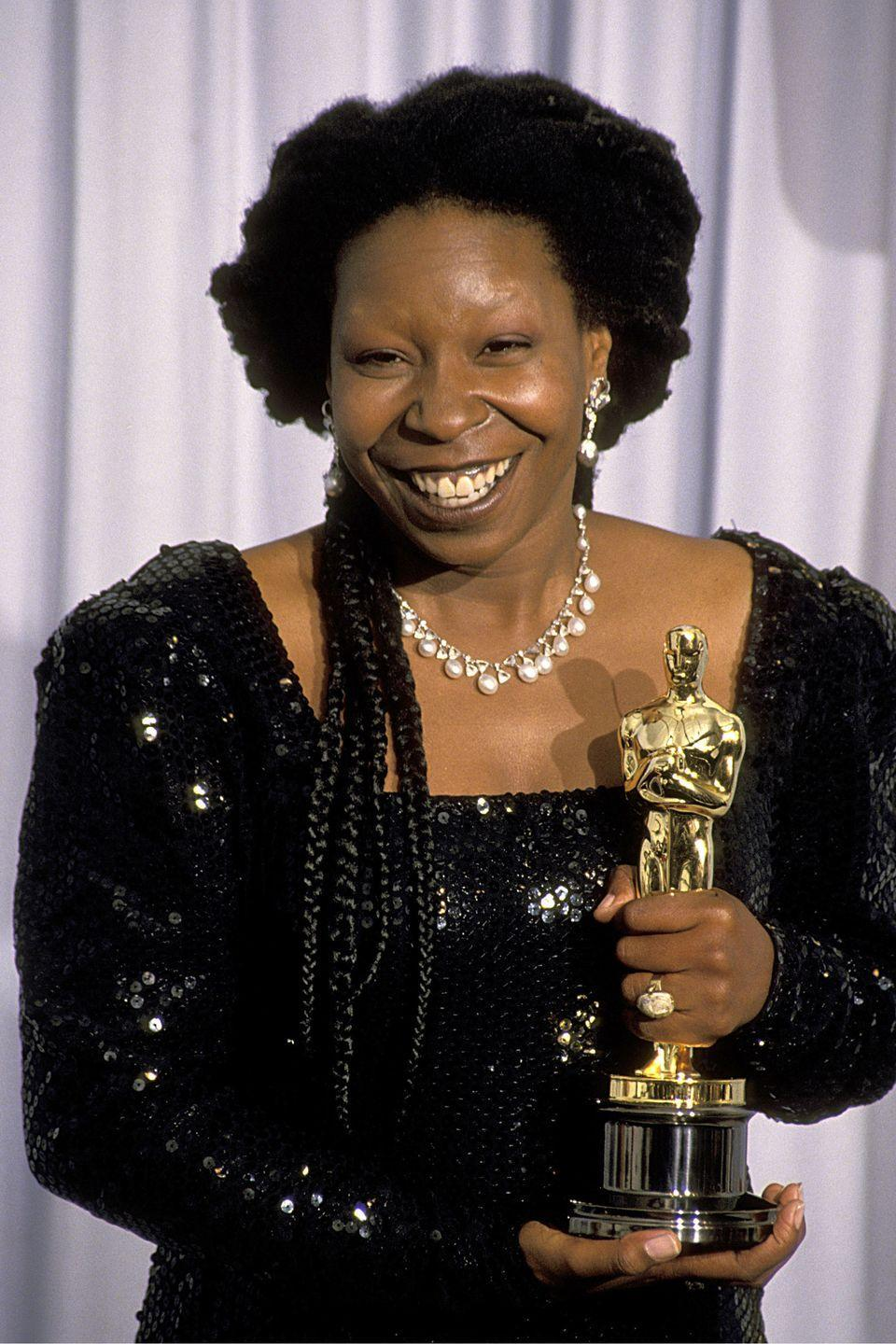 """<p><strong>Born</strong>: Caryn Johnson</p><p>While <a href=""""https://www.hellomagazine.com/celebrities/2017021036551/whoopi-goldberg-reveals-hilarious-reason-she-got-her-name/"""" rel=""""nofollow noopener"""" target=""""_blank"""" data-ylk=""""slk:guest starring on The Graham Norton Show"""" class=""""link rapid-noclick-resp"""">guest starring on <em>The Graham Norton Show</em></a>, Goldberg revealed that she got her stage name by acting like a whoopee cushion when she first started out. """"No one christened me that. I am Karen, but I was a bit of a farter,"""" she joked. """"The theatres I was performing in were very small so if you were gassy you had to walk away farting and people would say I was like a Whoopee cushion. I was sometimes quite noisy, never offensive.""""</p>"""