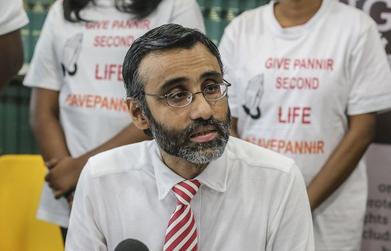 Lawyer for Singapore death row inmate P. Pannir Selvam's family, N. Surendran speaks during a press conference in Petaling Jaya July 5, 2019. — Picture by Firdaus Latif