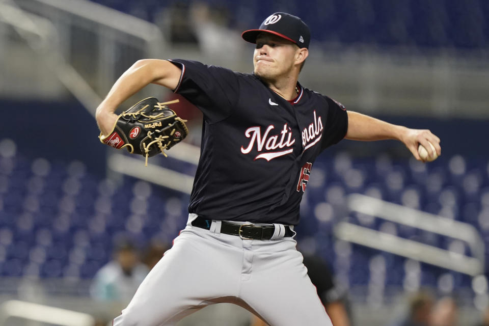 Washington Nationals' pitcher Josh Rogers (65) throws during the first inning of a baseball game against the Miami Marlins, Tuesday, Sept. 21, 2021, in Miami. (AP Photo/Marta Lavandier)