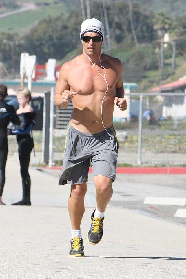 "Matthew McConaughey may be getting older (he's 41), but the star of ""The Lincoln Lawyer"" still has one of the fittest physiques in Hollywood! Mike/<a href=""http://www.splashnewsonline.com/"" target=""new"">Splash News</a> - January 23, 2011"