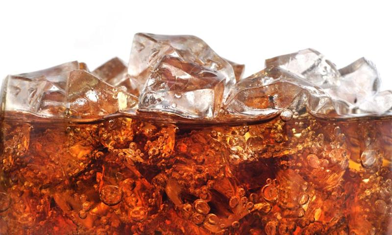 Close-up of carbonated drink with ice
