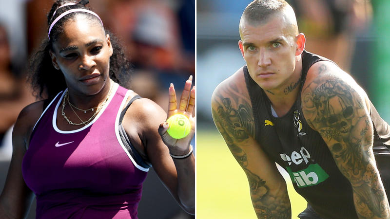 Serena Williams and Dustin Martin, pictured here in Auckland and Melbourne respectively.
