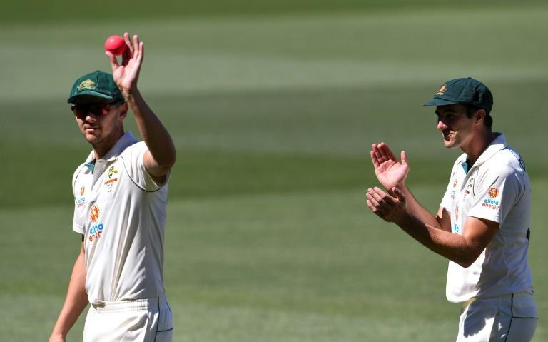 Australia's Josh Hazlewood claimed the match ball after taking a match-winning five wickets for just eight runs as India slumped to 36 all out in their second innings at Adelaide