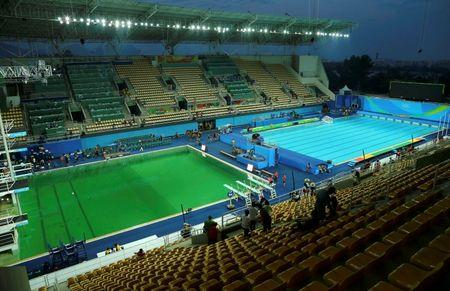General view of Olympic diving pool and pool for waterpolo and synchronized swimming at the Maria Lenk Aquatics Centre in Rio
