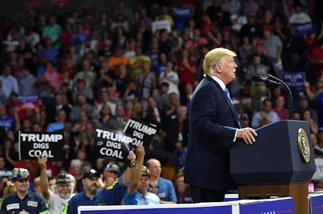 President Trump at the West Virginia rally where he spoke in support of coal and against Obama's Clean Power Plan, Aug. 21, 2018. (Photo: Mandel Ngan/AFP/Getty Images)