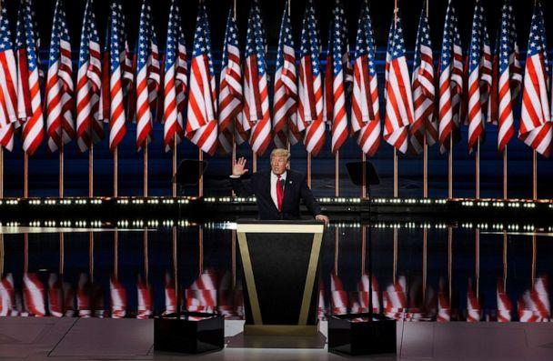 PHOTO: Donald Trump accepts the Republican nomination for President at the 2016 Republican National Convention in Cleveland, Ohio, USA on July 21, 2016. (Samuel Corum/Anadolu Agency/Getty Images)