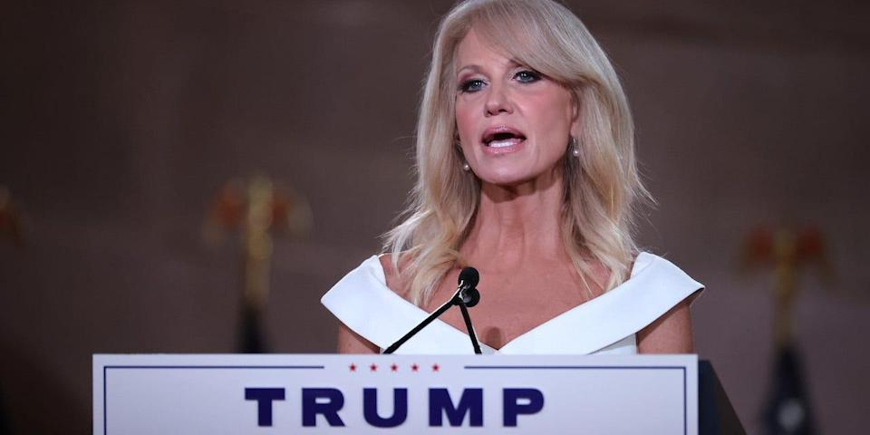 White House Counselor to the President Kellyanne Conway pre-records her address to the Republican National Convention from inside an empty Mellon Auditorium August 26, 2020 in Washington, DC.