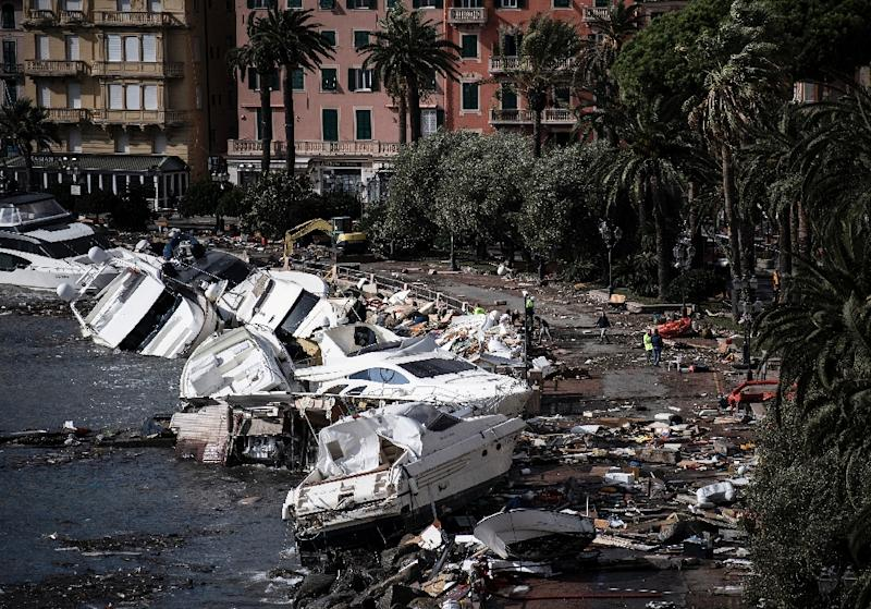 The Genoa region alone had suffered tens of millions of euros' worth of damage -- a price tag that could rise to hundreds of millions in the long term (AFP Photo/MARCO BERTORELLO)