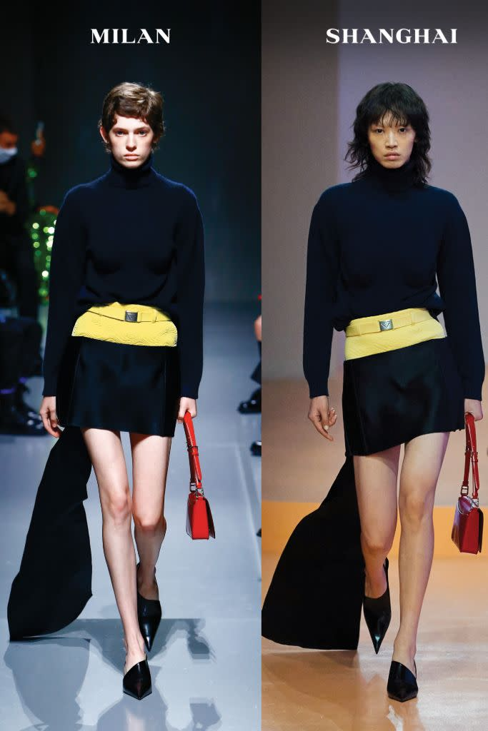 Miniskirts and pointy pumps, side by side in both Milan and Shanghai for Prada's spring '22 dual show. - Credit: Courtesy of Prada