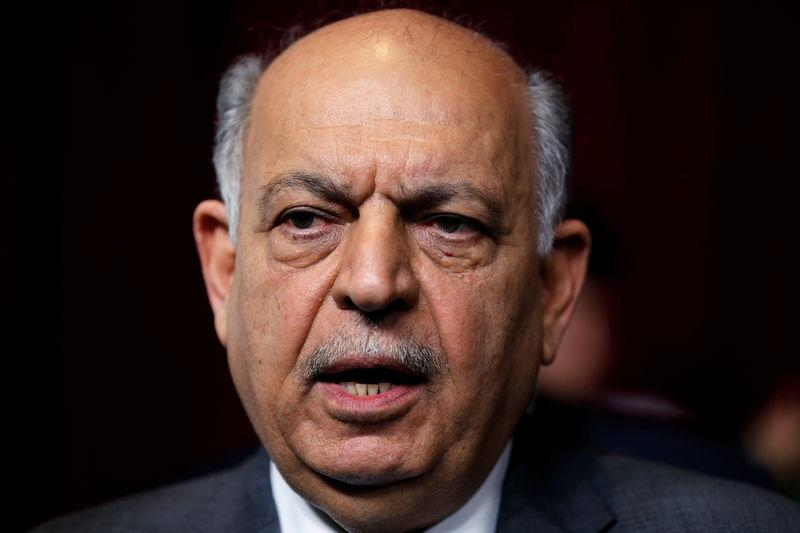 FILE PHOTO: Iraqi oil minister Thamer Ghadhban speaks to the media during a handover ceremony at the ministry's headquarters in Baghdad
