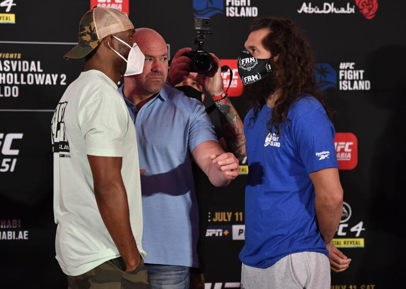 ABU DHABI, UNITED ARAB EMIRATES - JULY 10: In this handout image provided by UFC, (L-R) Opponents Kamaru Usman of Nigeria and Jorge Masvidal face off during the UFC 251 official weigh-in inside Flash Forum at UFC Fight Island on July 10, 2020 on Yas Island Abu Dhabi, United Arab Emirates. (Photo by Jeff Bottari/Zuffa LLC via Getty Images)