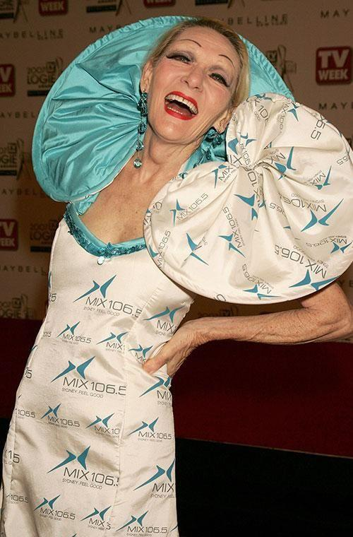 Iconic Aussie entertainer Jeannie Little dressed as a walking billboard for Mix 106.5 FM radio station at the 2005 awards. Why? We're not sure. But you know what, the 1977 Gold Logie-award-winner kinda pulls it off - and she looks like she's having a ball, too. You do you, Jeannie. Photo: Getty Images.