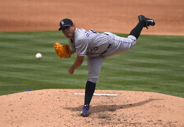 Colorado Rockies starting pitcher Jorge De La Rosa throws to the plate during the second inning of a baseball game against the Los Angeles Dodgers, Sunday, April 27, 2014, in Los Angeles. (AP Photo/Mark J. Terrill)